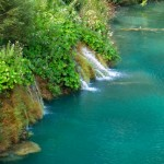 Beautiful green waterfalls at Plitvice Lakes National Park