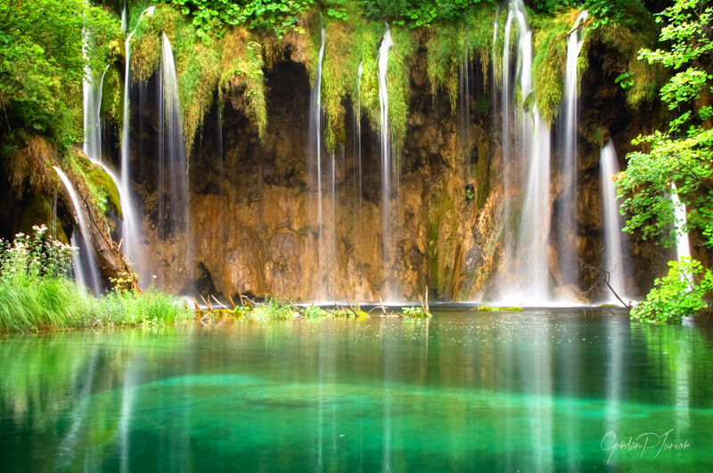 Beautiful waterfall at Plitvice Lakes National Park , UNESCO World Heritage Center.