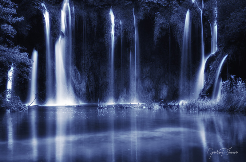 Waterfall Blues - Beautiful waterfalls , artistic toned photo