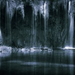 Dark Artistic Waterfalls Monochrome Photography Art Print