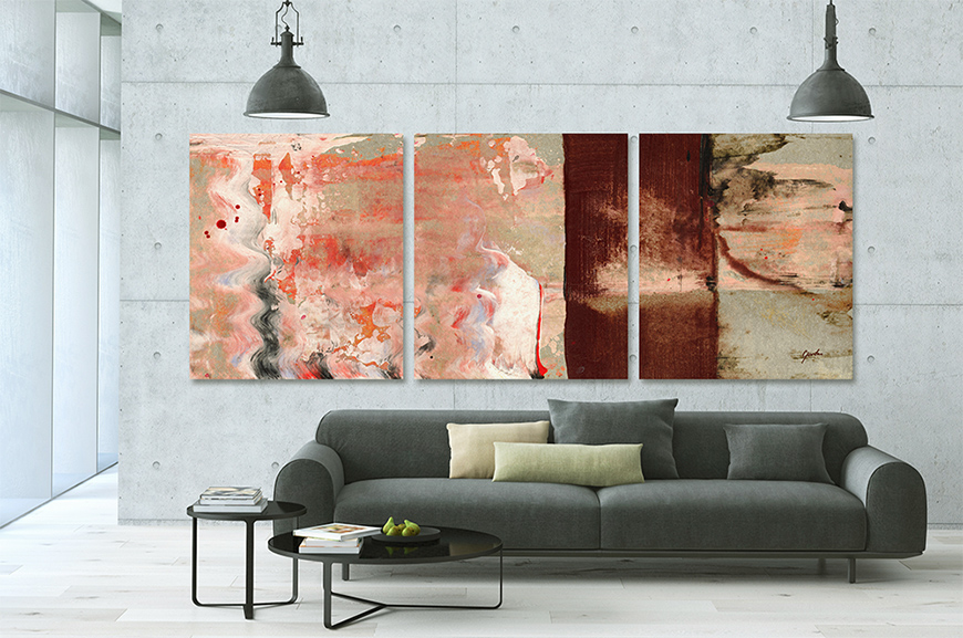 Abstract Triptych Painting For Sale - Moment Of Glory Modern Living Room Interior Art - Modern Art Prints