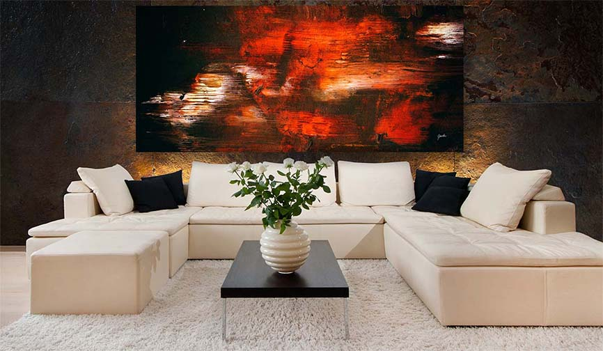 Black Orange And White Dark Modern Abstract Art Painting For Sale - Large Modern Living Room Modern Art Prints