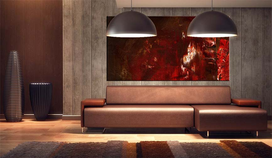 Buy Brown Contemporary Abstract Art Painting For Modern Living Room Interior - Modern Art Prints