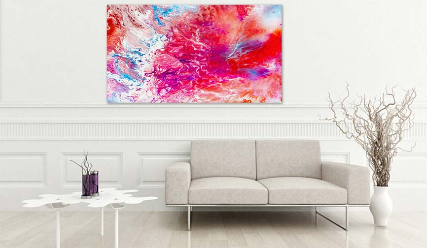 Modern Art Prints - Colorful Spiritual Painting In Warm Red an Purple Bright Pastel Tones For Sale - Buy Art Paintings For Living Room Wall Decor