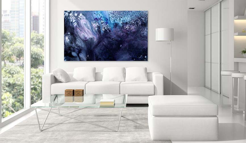 Modern Art Prints - Contemporary Blue Abstract Painting by Gordan P. Junior. Art For Sale - Blue Tone Large Living Room