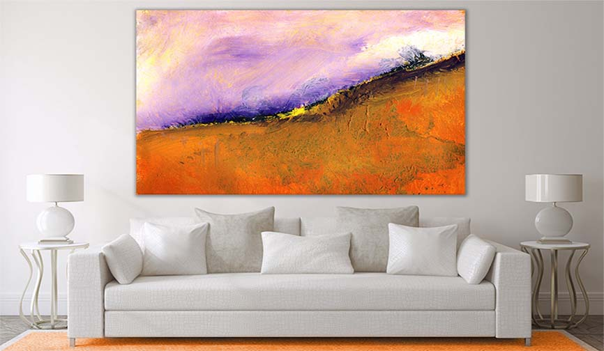 Large Abstract Landscape Painting In Orange And Purple Tones - Modern Art Prints For Modern And Classic Living Room Interiors