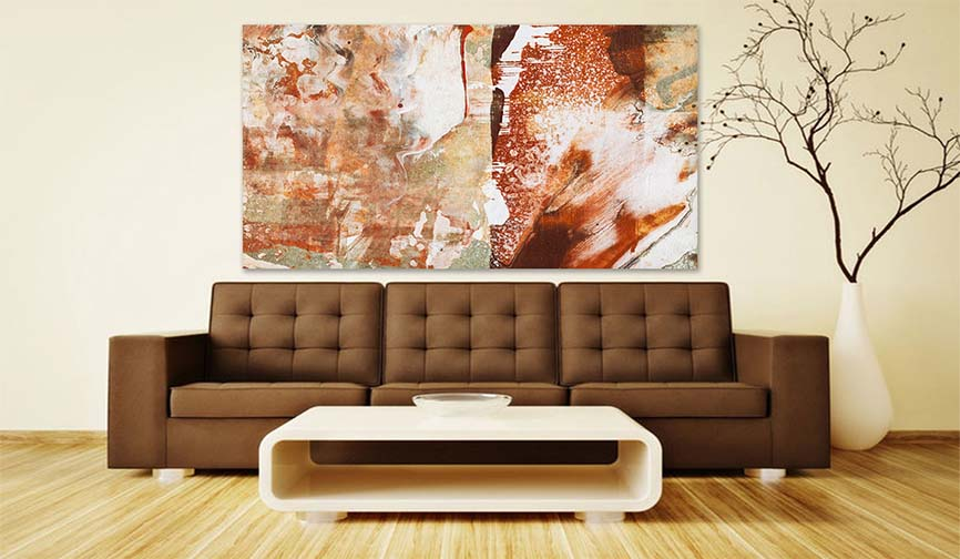 Modern Brown Bright Abstract Art Painting - Modern Living Room Brown Interior Modern Art Prints For Sale